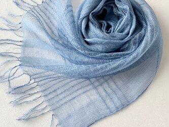 模様織*藍色*シルクオーガンジーストールの画像