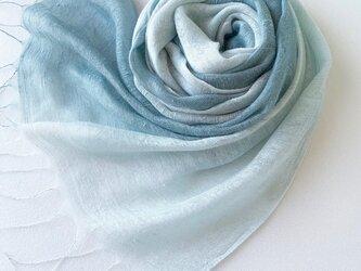 二重紗シルク*薄萌葱色×錆青磁色*ストールの画像