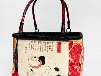 一閑張りバッグ 『華と猫』なか袋無しの画像