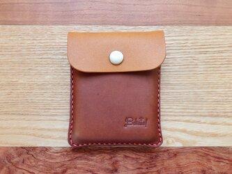 キャッシュレス時代に便利な本革Bokuno!カードケース キャメル×ブラウンの画像