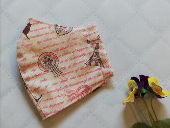 生成りピンク英字がかわいい立体マスク エッフェル塔・猫・パリ・スタンプ 手作りマスクの画像