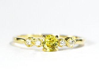 K18 スフェーン×ダイヤモンド リング K18イエローゴールド ティナ BQ09333CIの画像