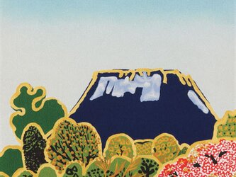 風呂敷 ふろしき  片岡球子 桜に富士山 ブルー 絹100% 45cm×45cmの画像
