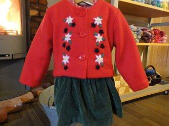 赤いフリースのジャケットの画像