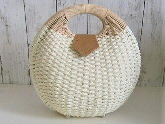 ¶ new antique fur ¶ 天然籐/紙ロープ編み込みシェル型ハンドバッグの画像
