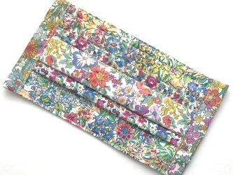 【パッチワークマスク/花模様ヴィヴィッドカラー】4種類の花柄リバティプリント使用 内布/ダブルガーゼの画像