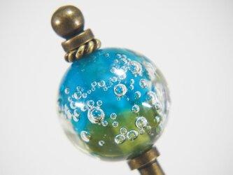 しゅわしゅわとんぼ玉のかんざし オリーブ×青緑の画像