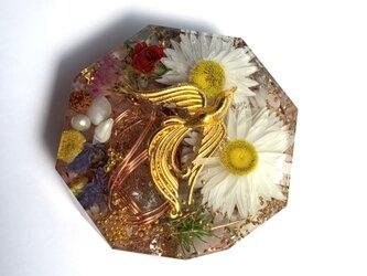鳳凰 ケオン 幸福 バラ色の人生 月のパワー 恋愛のお守り メモリーオイル入り コースター型 オルゴナイトの画像
