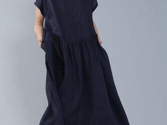 【wafu】中厚リネン Uネック ギャザーワンピース 重ね着で使いやすいワンピース/ネイビー a018b-neb2の画像