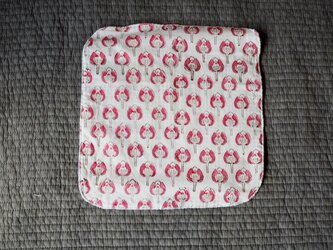 ハンドブロックプリント タオルハンカチ ピンクの画像