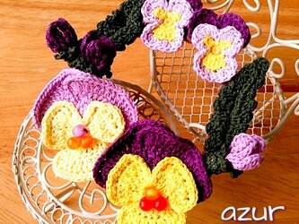 パンジーとビオラのリースコサージュ・黄色+紫の画像