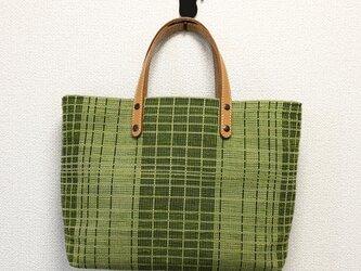 裂き織りバッグ~グリーンチェック~(本革持ち手)の画像