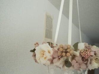 【受注製作】花冠の吊るすwreath (プリザーブドフラワードライフラワーグリーン アンティーク ギフト)の画像