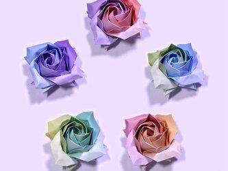 折り紙の薔薇の花 (グラデーション千代紙②)【送料無料】の画像
