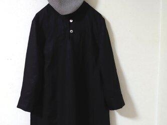リネンシャツカラーチュニック(ブラック)の画像
