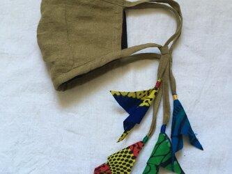 オリーブ色のリネンマスク(アフリカン)の画像