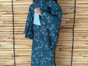 「とんぼ舞う浴衣…青」28~30cmドール着物の画像