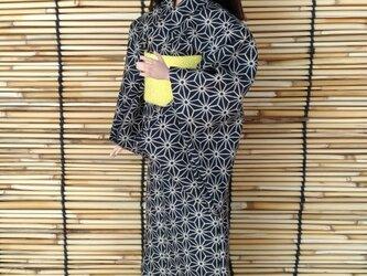 「麻の葉並ぶ浴衣…黒」28~30cmドール着物の画像
