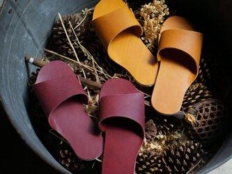 room shoes イタリアンレザー使用《Mサイズ》イエローキャメルの画像