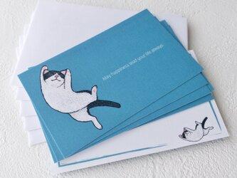 メッセージカードセット(ネコ/ブルー・5組+1枚)送料無料の画像