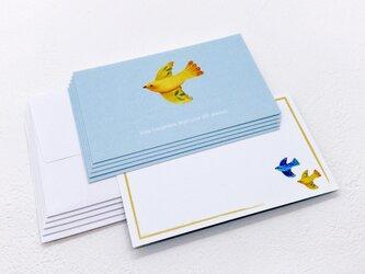 メッセージカードセット(小鳥ブルー・5組+1枚)送料無料の画像