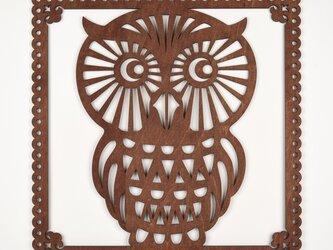ビッグウッドフレーム「大フクロウ」(木の壁飾り)の画像
