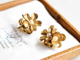 【イヤリング】ヴィンテージ 真鍮の花束・小の画像