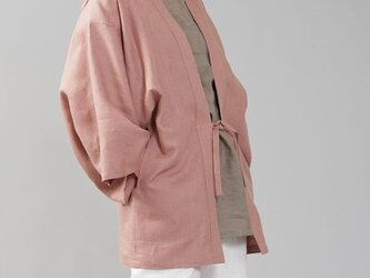 【wafu】中厚リネン羽織 男女兼用 和装 和服 リネン着物 kimono/浅緋色(あさあけいろ) h037h-asa2の画像