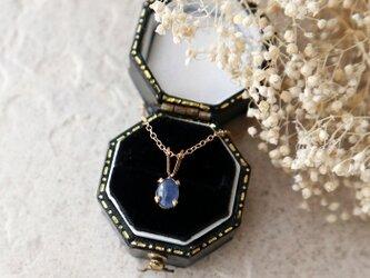 【14kgf】アフリカ産宝石質ブルーサファイアの一粒ネックレス*9月誕生石の画像