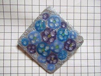 銀七宝 ブローチ 紫陽花模様 紫 の画像