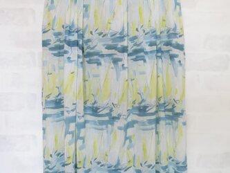 コットン100%のフワフワギャザースカート  ヨット柄 M~Lの画像