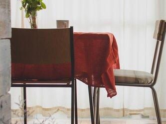 [日本製品染め]リネン テーブルクロス [Size S 130cm×130cm](プレーンレッド)teint TE-009の画像