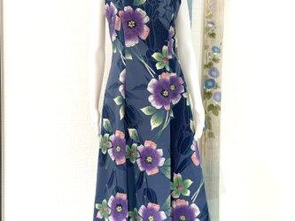 気分を明るく!浴衣地ワンピースドレス 花柄 リバーシブルマスク付きの画像