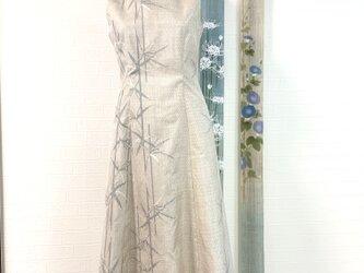 白大島紬ワンピースドレス 竹 マスク付の画像