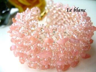 天然石ワイドブレスレット(pink)の画像