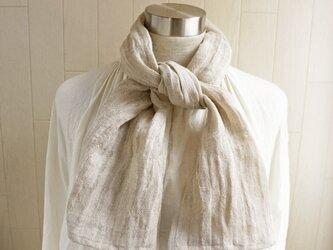 透かし織 くったり上質リネン シングルガーゼの手ぬぐい 亜麻色の画像