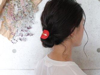 【美容師が考えたポニーフックレザー 「このは 」】レッド/ポニーフック(ヘアフック・ヘアカフ)の画像