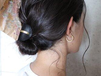 【美容師が考えたポニーフックレザー 「このは 」】ブラックシボ/ポニーフック(ヘアフック・ヘアカフ)の画像