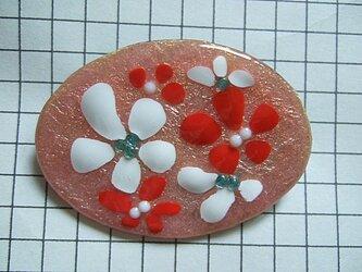 銀七宝 ブローチ 花 カレット・ビーズ 楕円の画像