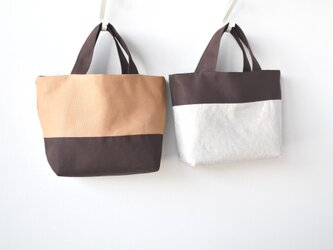 キャメル×チョコのリバーシブルミニトートバッグ※の画像