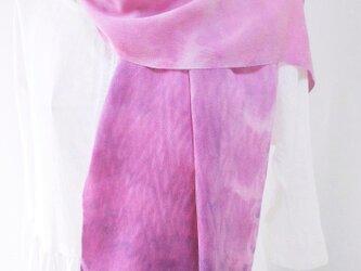 【送料無料】草木染め・藍とコチニール・絞り染め・シルク縮緬・ロングストールの画像