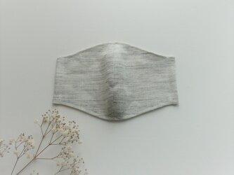 秋冬スタイル☆リネンのナチュラルマスク (杢ライトグレー)の画像