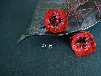 あか色の花のポピー/イヤリングの画像