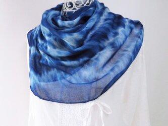 竹繊維100%・とても柔らか・藍染め・絞り染め_3さざ波の画像