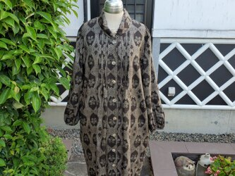 着物リメイク 手作り 大島 コートドレスの画像