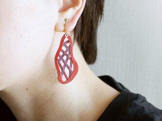 片耳0.6g『綾』レッド: 軽い・痛くなりにくい紙の大ぶりイヤリング [ピアス可], ペーパージュエリーの画像