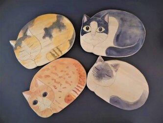 菓子皿 敷台に【ネコ4種】木彫り 各1点ものの画像