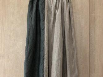 リネンとストライプコットンをパッチしたスカート M~Lの画像