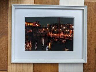 風景写真 A4 ヨットハーバーの夜景の画像