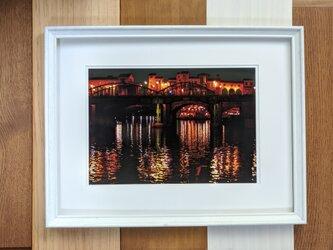 風景写真 A4 水辺の夜景の画像